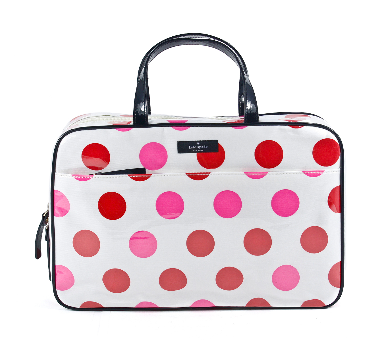 Kate Spade Large Manuela Underglass Cream Pink Red Polka Dot Cosmetic