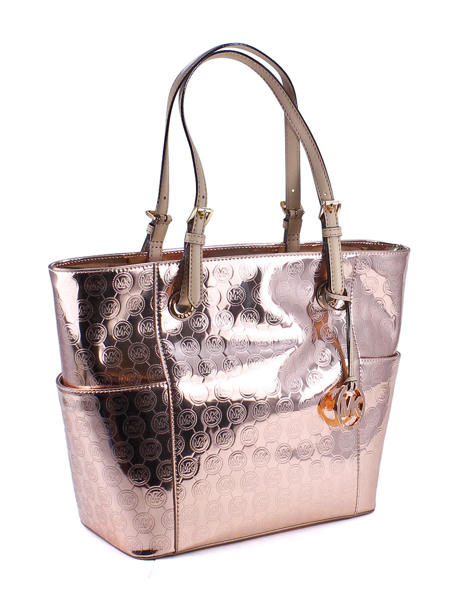 e0781928bcb211 Metallic Rose Gold Handbags. Michael Kors Jet Set East West Signature Mirror  Metallic Rose Gold Tote Bag ...
