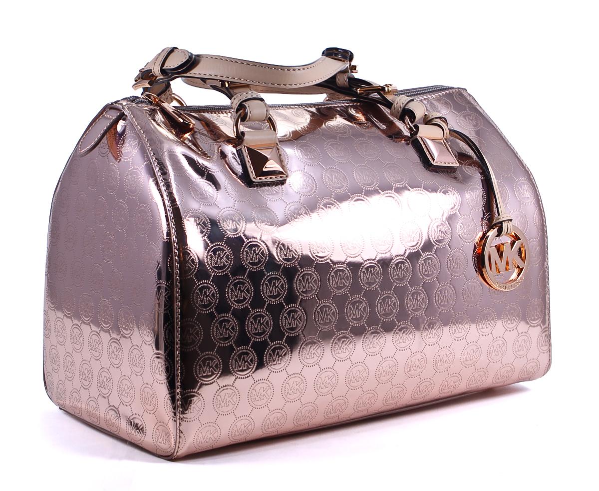 michael kors grayson mk metallic rose gold patent leather. Black Bedroom Furniture Sets. Home Design Ideas
