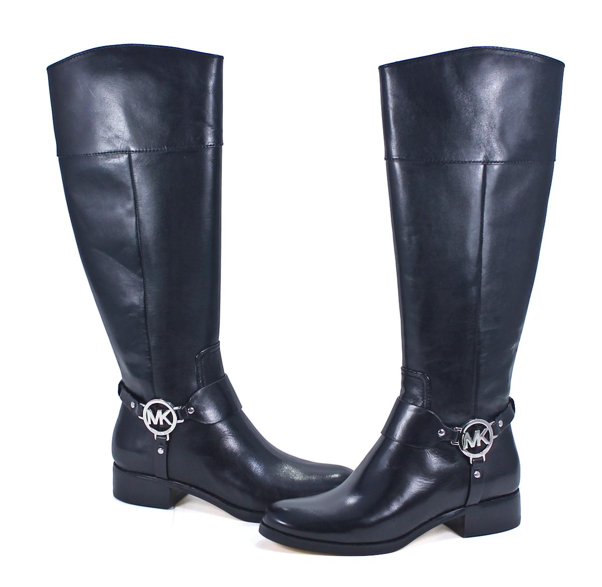 Michael Kors Fulton Harness Boot Black Leather Knee High ...