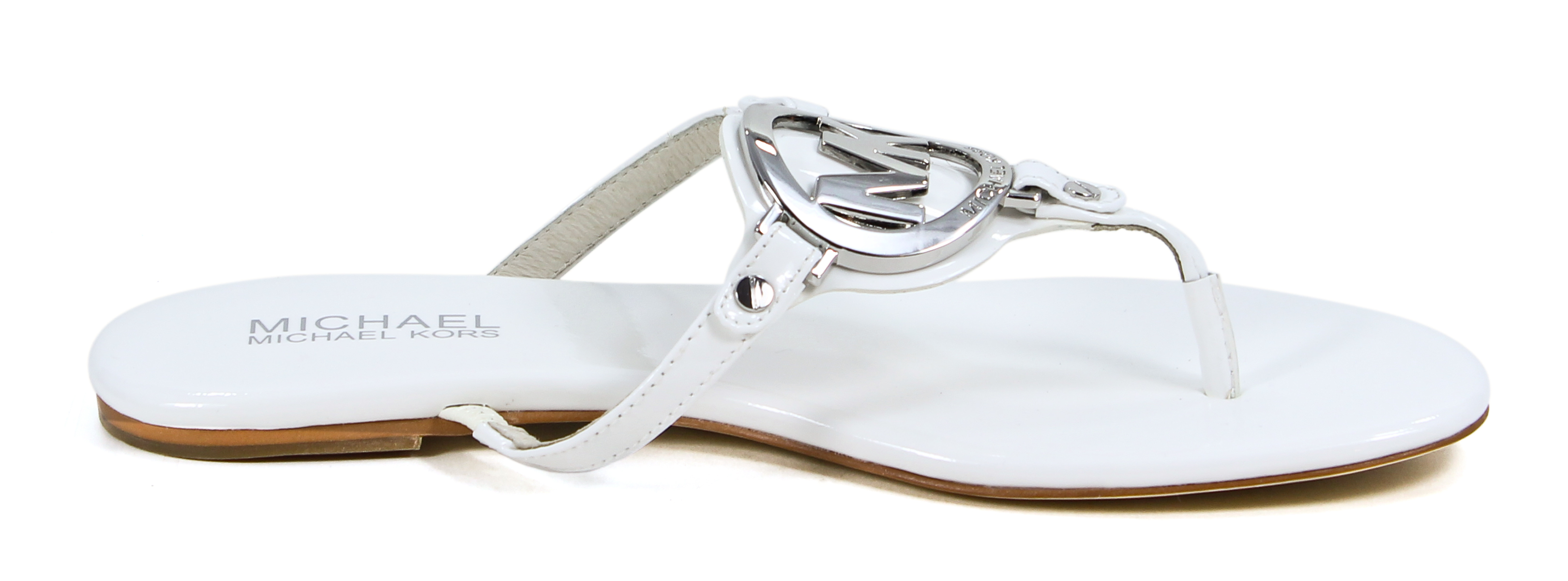 Michael Kors Optic White Leather Melodie Thong Sandal