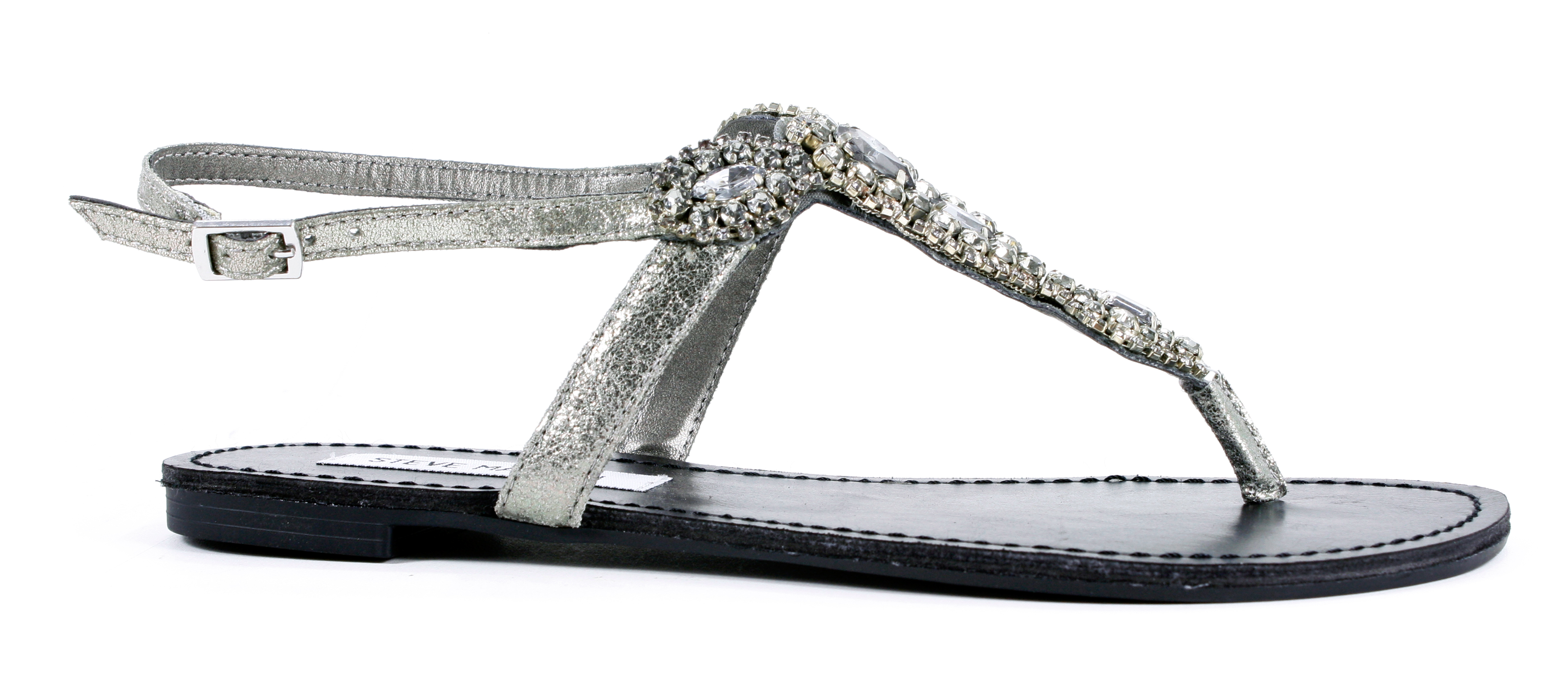 Steve Madden Glaare Pewter Beaded Leather Sandals Flats