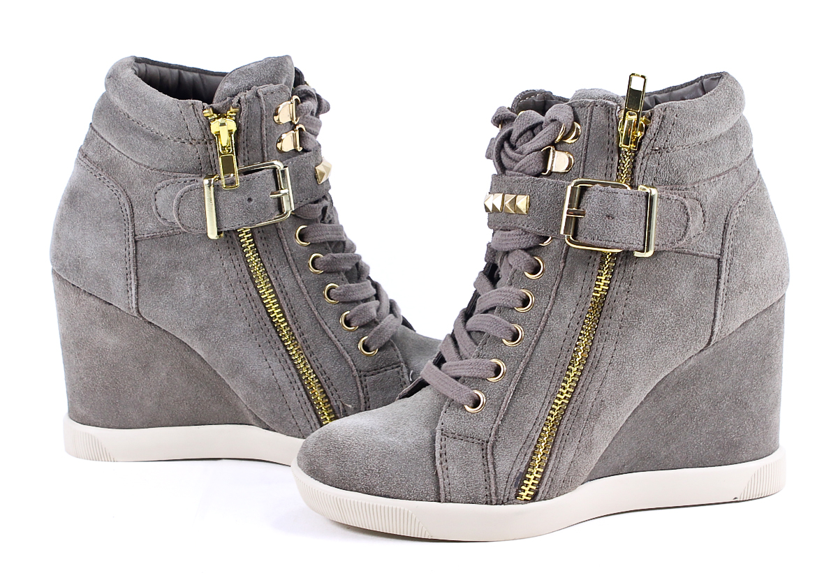 Steve Madden Taupe Suede Leather Obsess Wedge Sneakers ...
