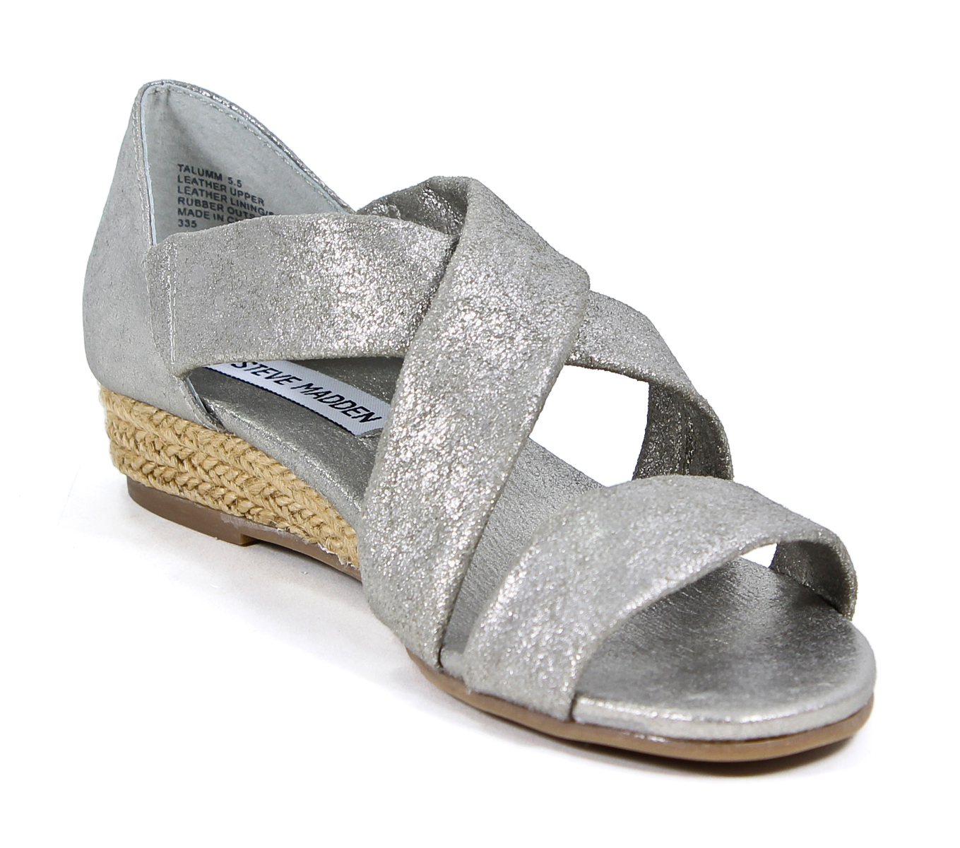 Steve Madden Talumm Leather Dusty Silver Wedge Sandals