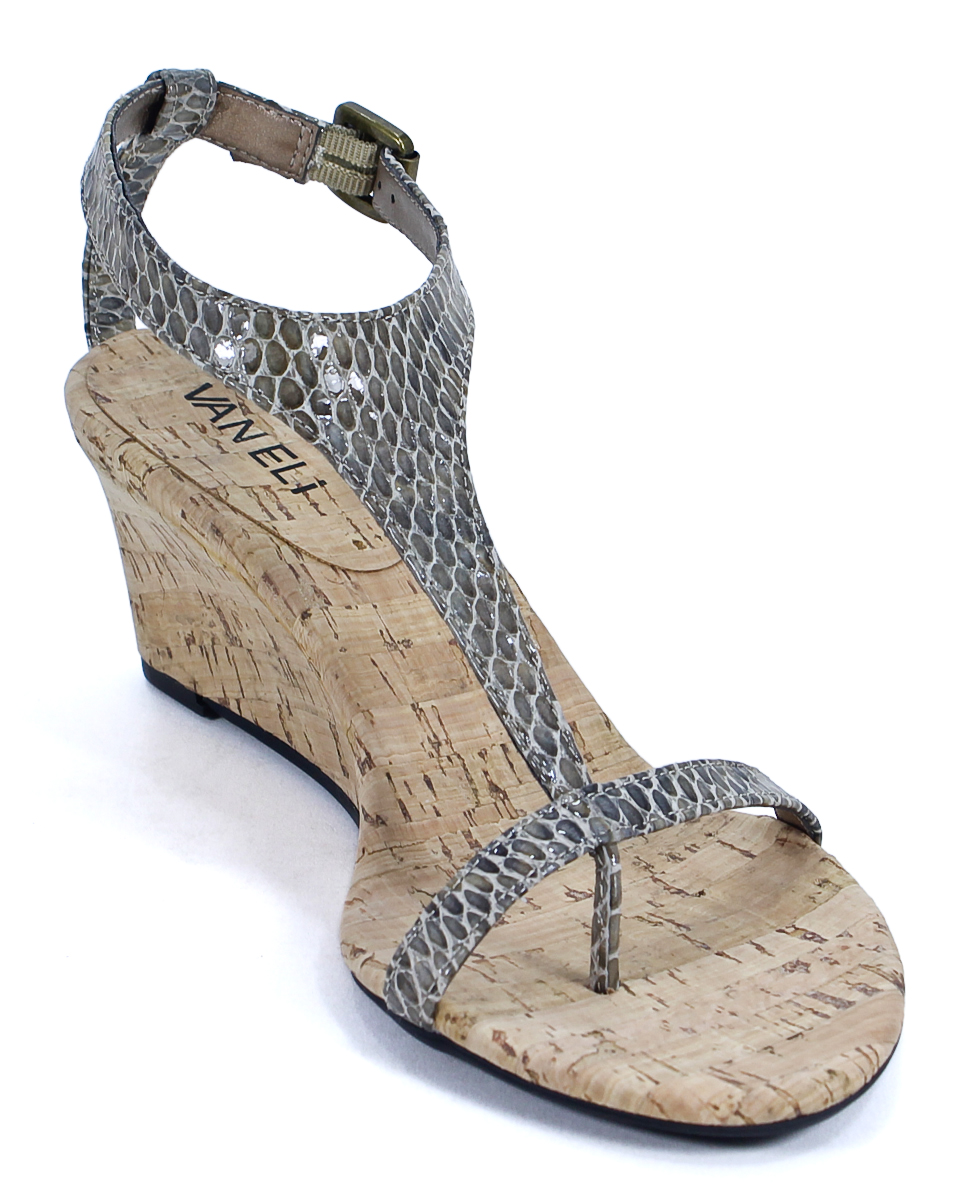 Vaneli Taupe Perprint Marion Wedge Sandal Shoes 7 New Ebay