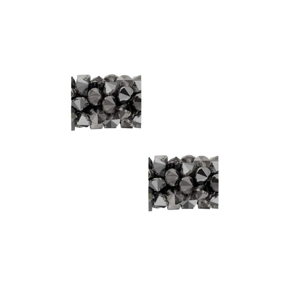 Swarovski Crystal, #5951 Fine Rocks Tube Bead  8mm, 2 Pieces, Crystal Light Chrome