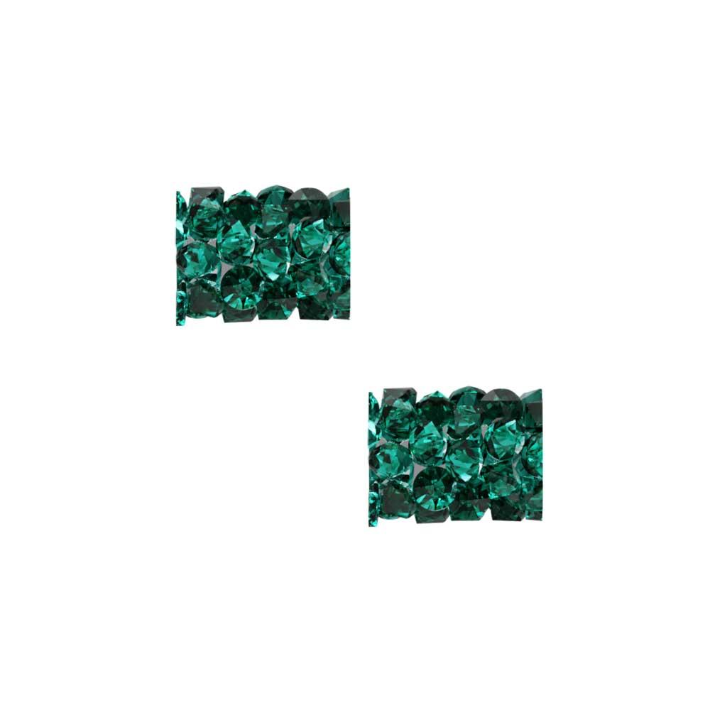 Swarovski Crystal, #5951 Fine Rocks Tube Bead  8mm, 2 Pieces, Emerald