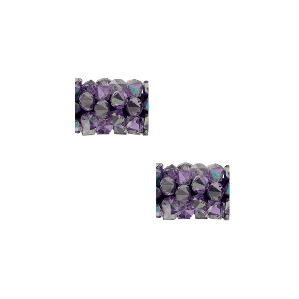 Swarovski Crystal, #5951 Fine Rocks Tube Bead  8mm, 2 Pieces, Light Amethyst / Paradise Shine