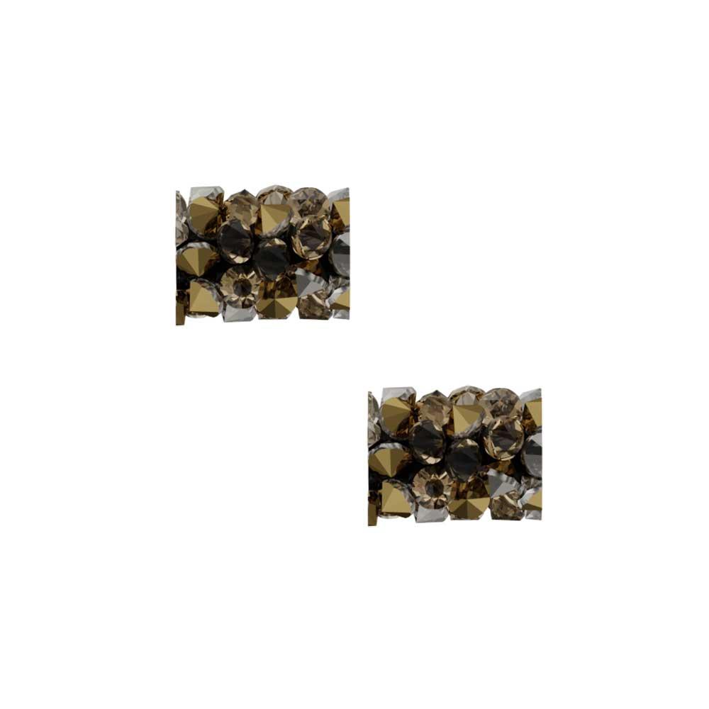 Swarovski Crystal, #5951 Fine Rocks Tube Bead  8mm, 2 Pieces, Light Colorado Topaz / Dorado