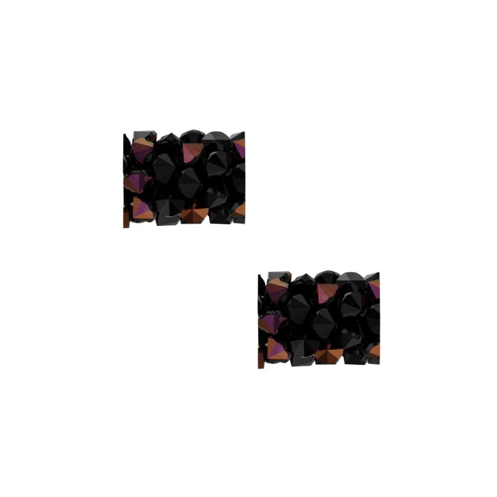 Swarovski Crystal, #5951 Fine Rocks Tube Bead  8mm, 2 Pieces, Jet / Crystal Astral Pink