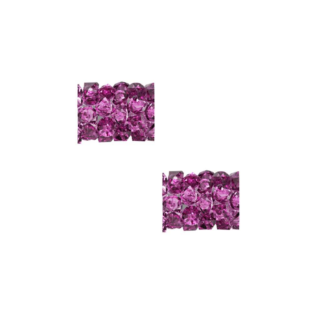 Swarovski Crystal, #5951 Fine Rocks Tube Bead  8mm, 2 Pieces, Fuchsia