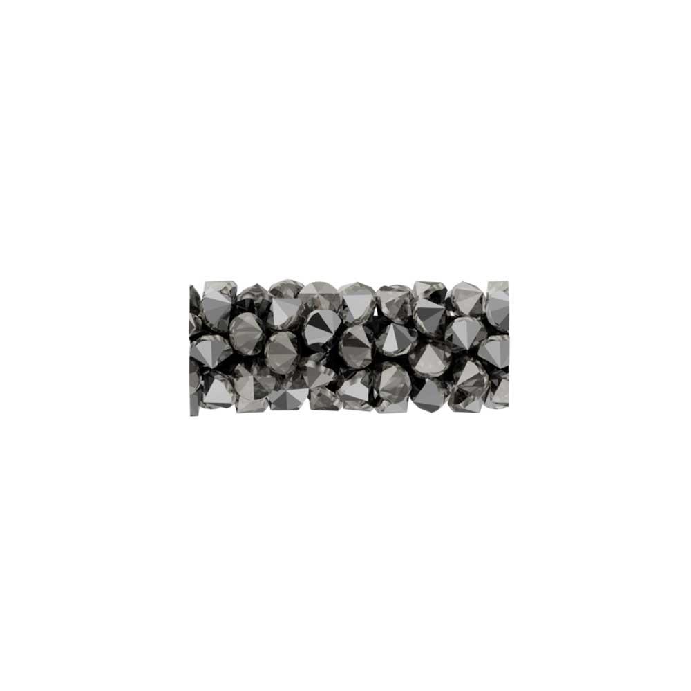 Swarovski Crystal, #5951 Fine Rocks Tube Bead  15mm, 1 Piece, Crystal Light Chrome