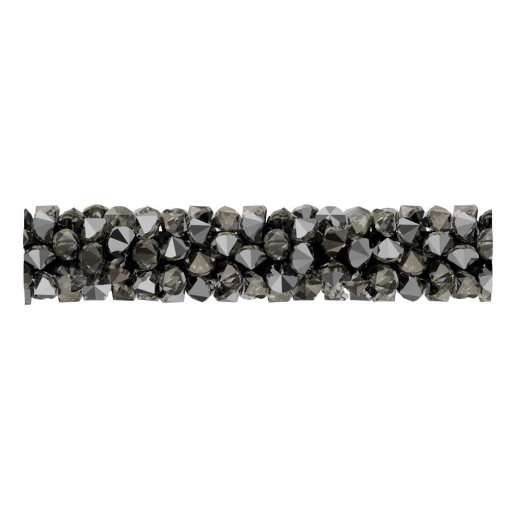 Swarovski Crystal, #5951 Fine Rocks Tube Bead  30mm, 1 Piece, Crystal Light Chrome