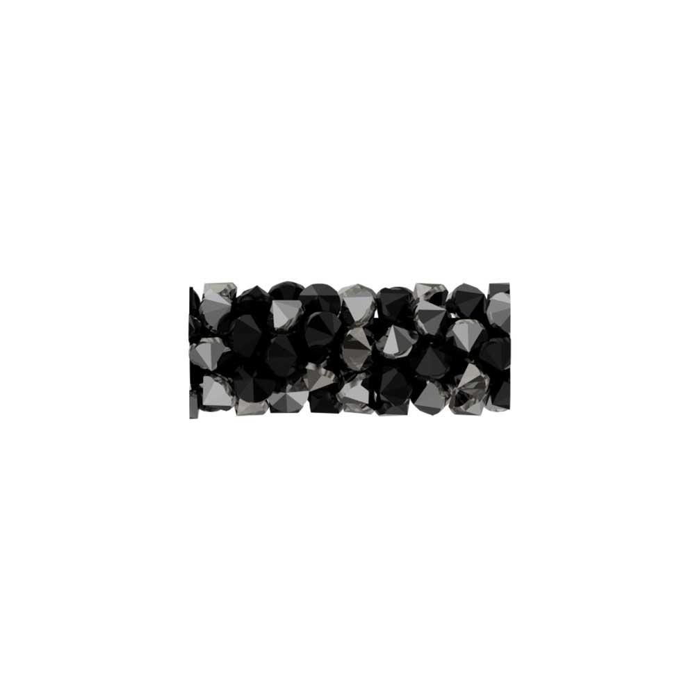 Swarovski Crystal, #5951 Fine Rocks Tube Bead  15mm, 1 Piece, Jet / Metallic Silver