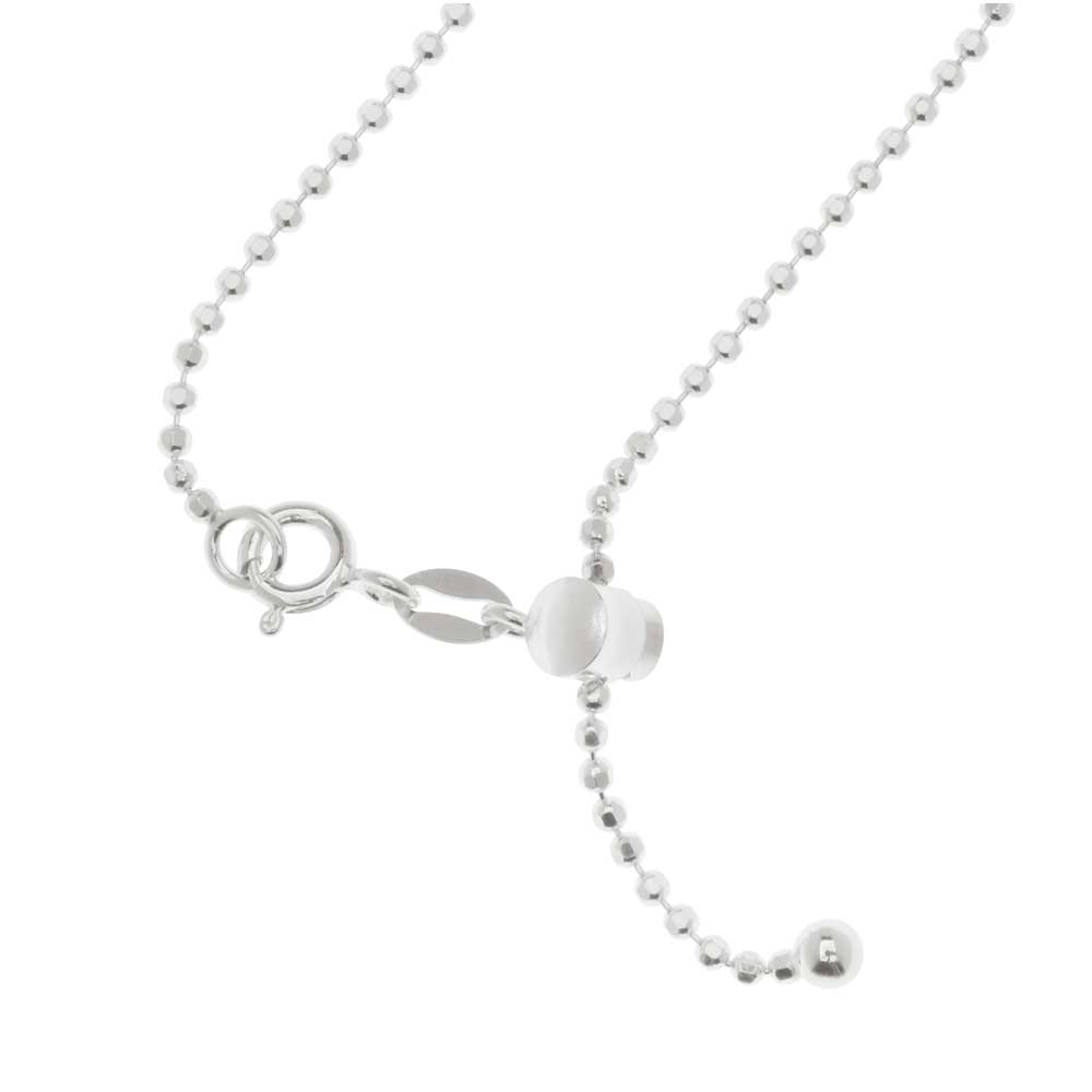 Finished Adjustable Chain Necklace, 0.5mm Ball Links with Clasp Assembly, 22 Inches, Sterling Silver