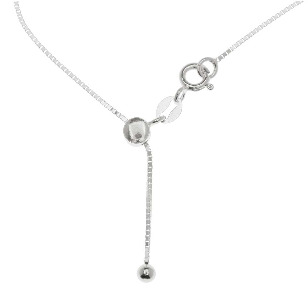 Finished Adjustable Chain Necklace, 0.3mm Box Links with Clasp Assembly, 22 Inches, Sterling Silver