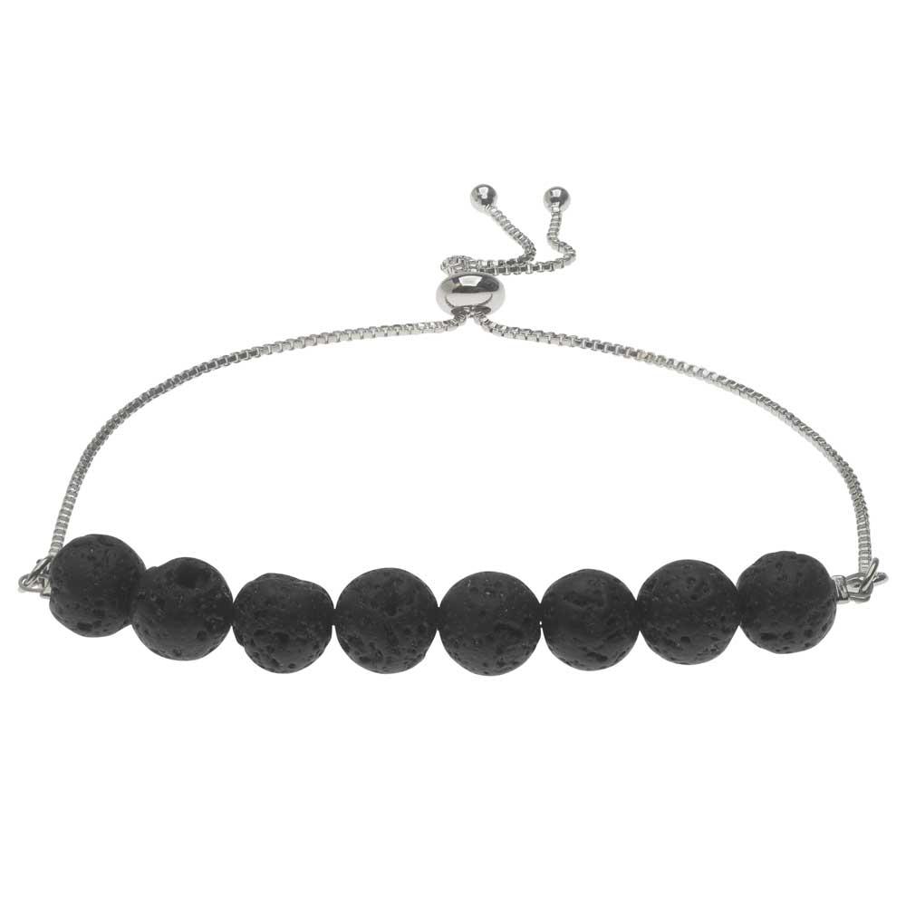Final Sale - Natural Lava Gemstone Bead Bracelet, Round 8mm with Silver Tone Box Chain, 1 Bracelet, Black/Silver