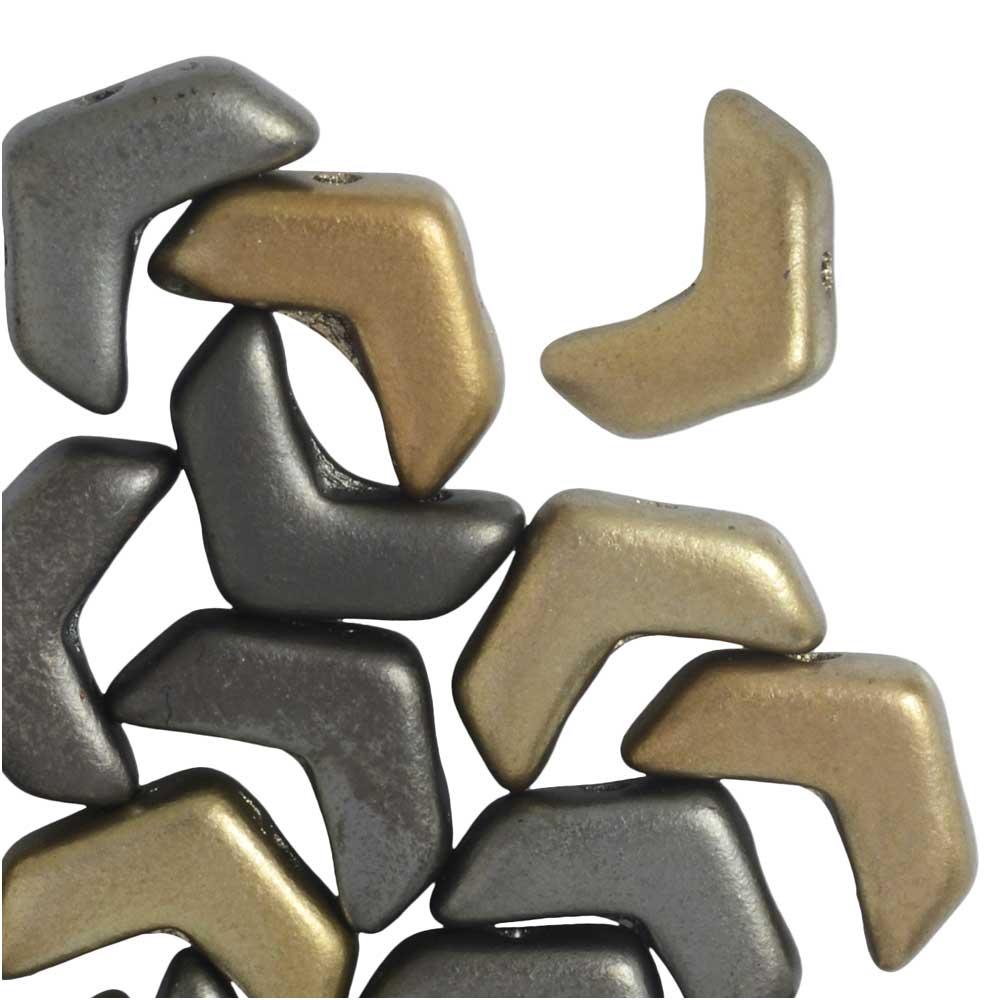 Czech Glass, 2-Hole Chevron Beads 10x4mm, 30 Pieces, Crystal Grey Rainbow