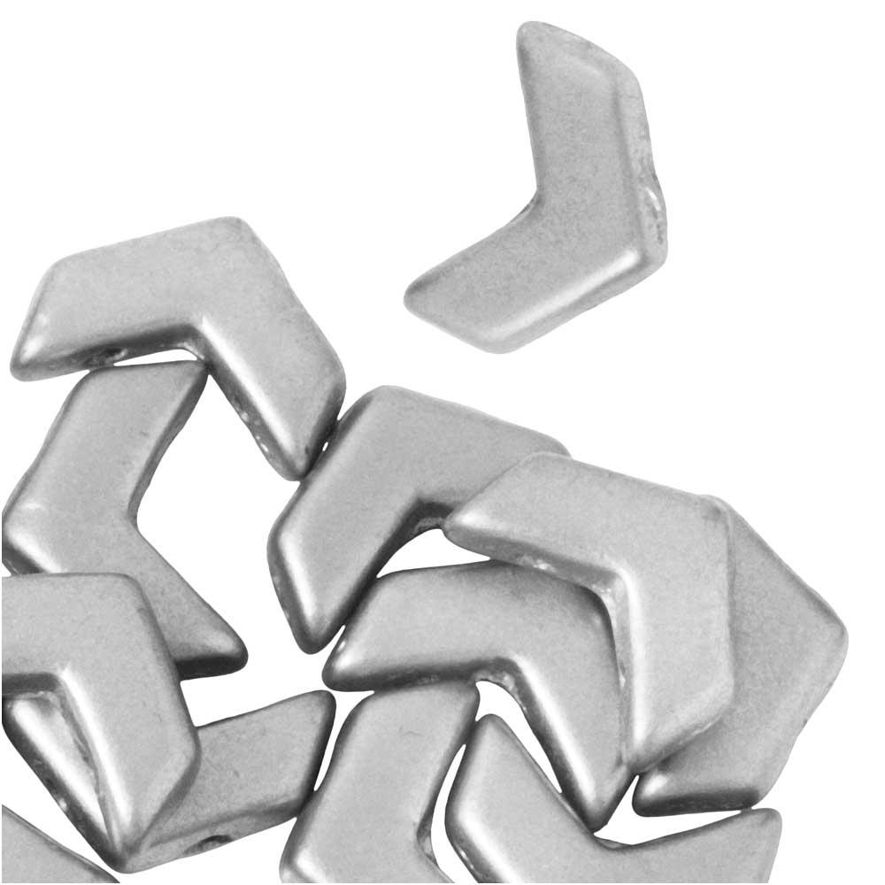 Czech Glass, 2-Hole Chevron Beads 10x4mm, 30 Pieces, Crystal Bronze Aluminum