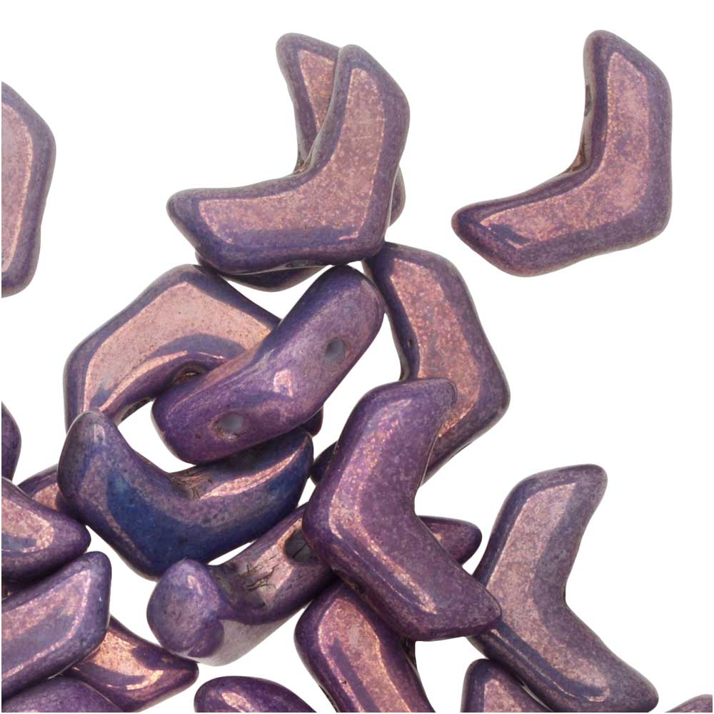 Czech Glass, 2-Hole Chevron Beads 10x4mm, 30 Pieces, Purple Vega
