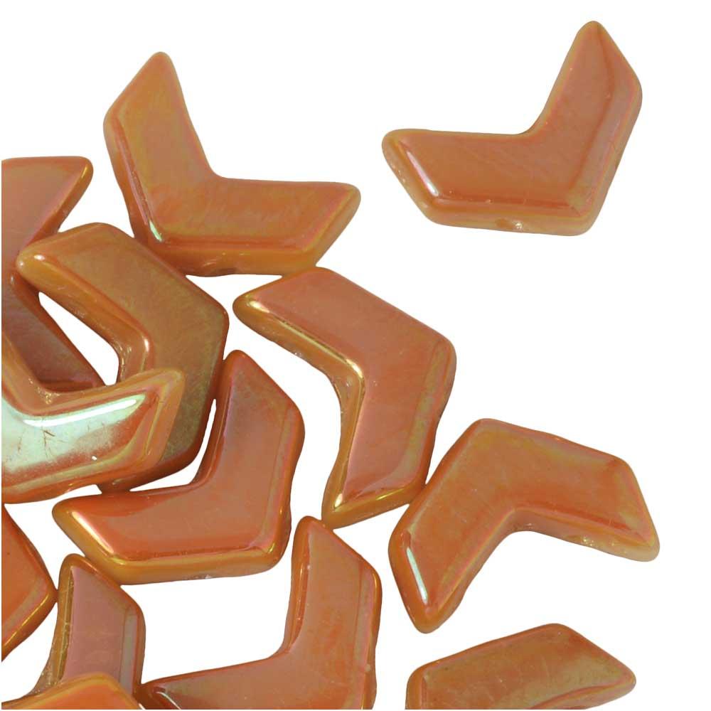 Czech Glass, 2-Hole Chevron Beads 10x4mm, 30 Pieces, Chalk Full Apricot
