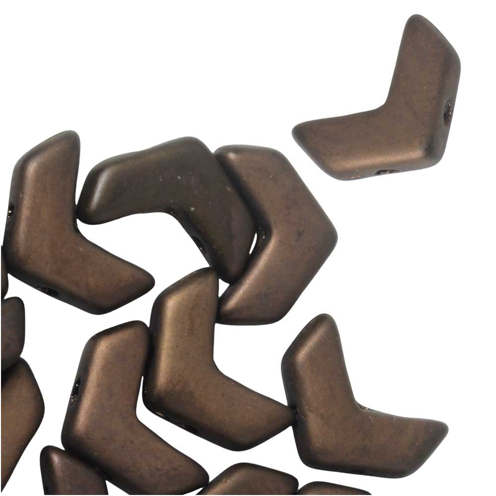 Czech Glass, 2-Hole Chevron Beads 10x4mm, 30 Pieces, Matte Jet Bronze