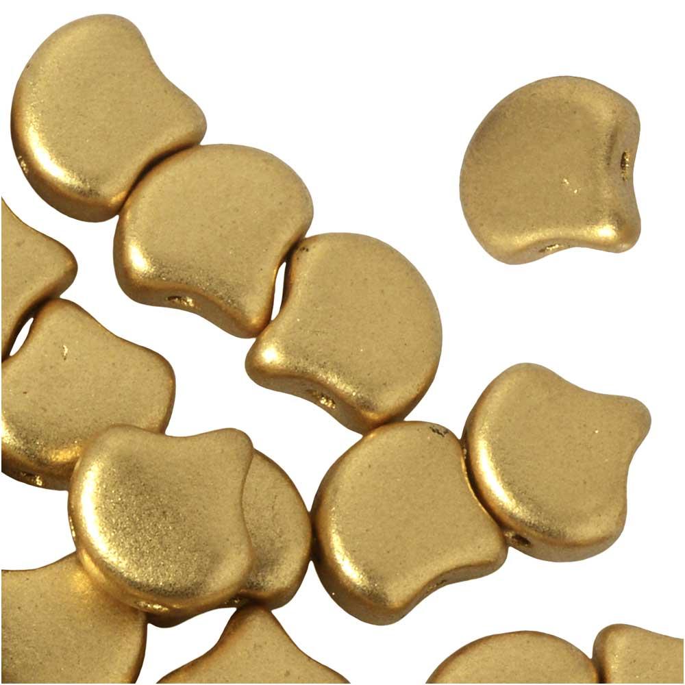 Czech Glass, 2-Hole Ginko Beads 7.5mm, 10 Grams, Crystal Bronze Pale Gold