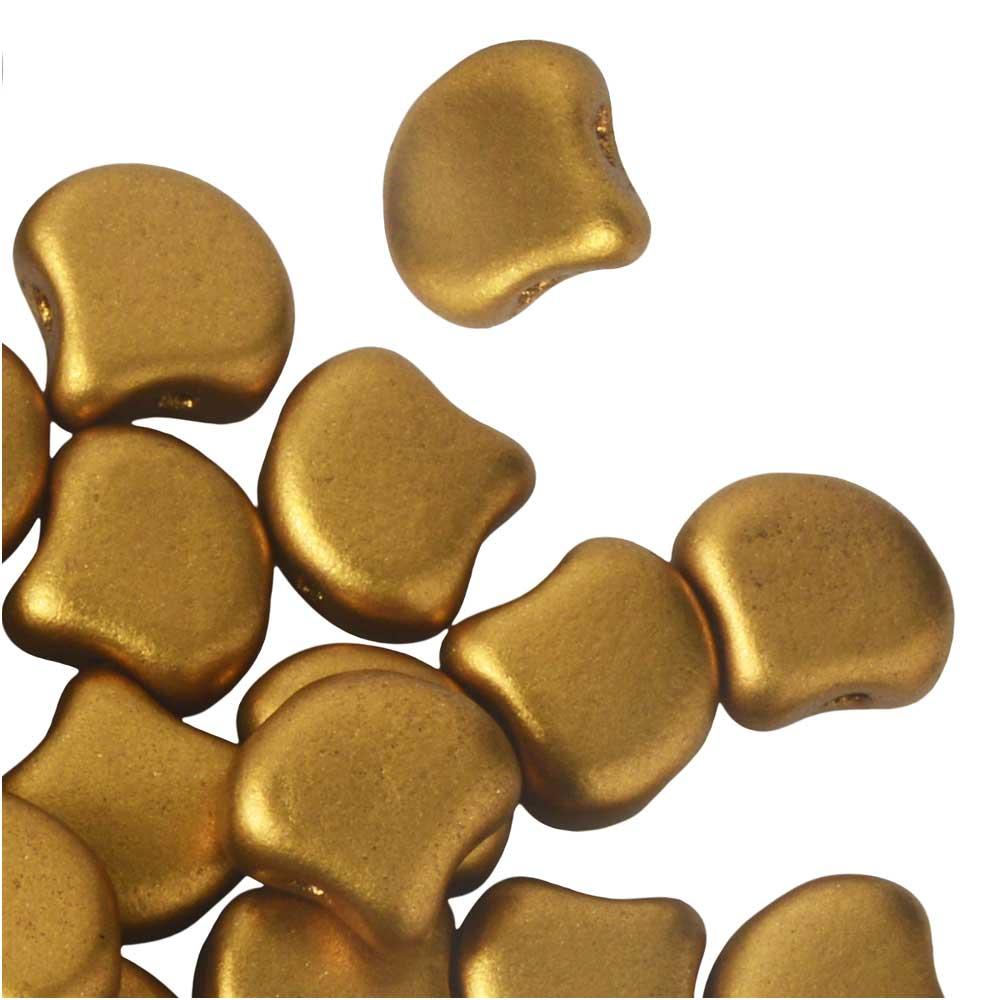 Czech Glass, 2-Hole Ginko Beads 7.5mm, 10 Grams, Crystal Bronze Gold