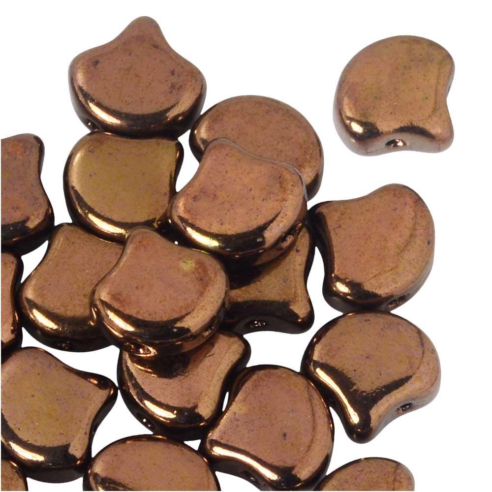 Czech Glass, 2-Hole Ginko Beads 7.5mm, 10 Grams, Jet Bronze