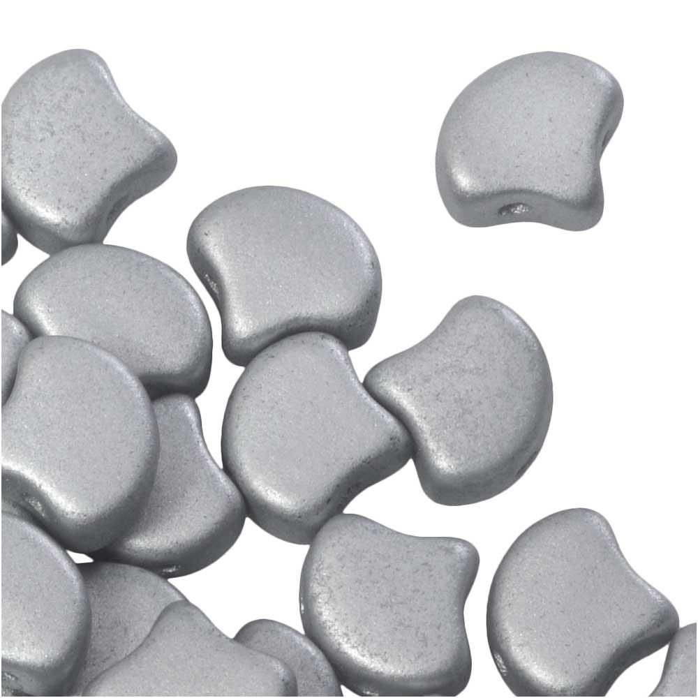 Czech Glass, 2-Hole Ginko Beads 7.5mm, 10 Grams, Matte Metallic Silver