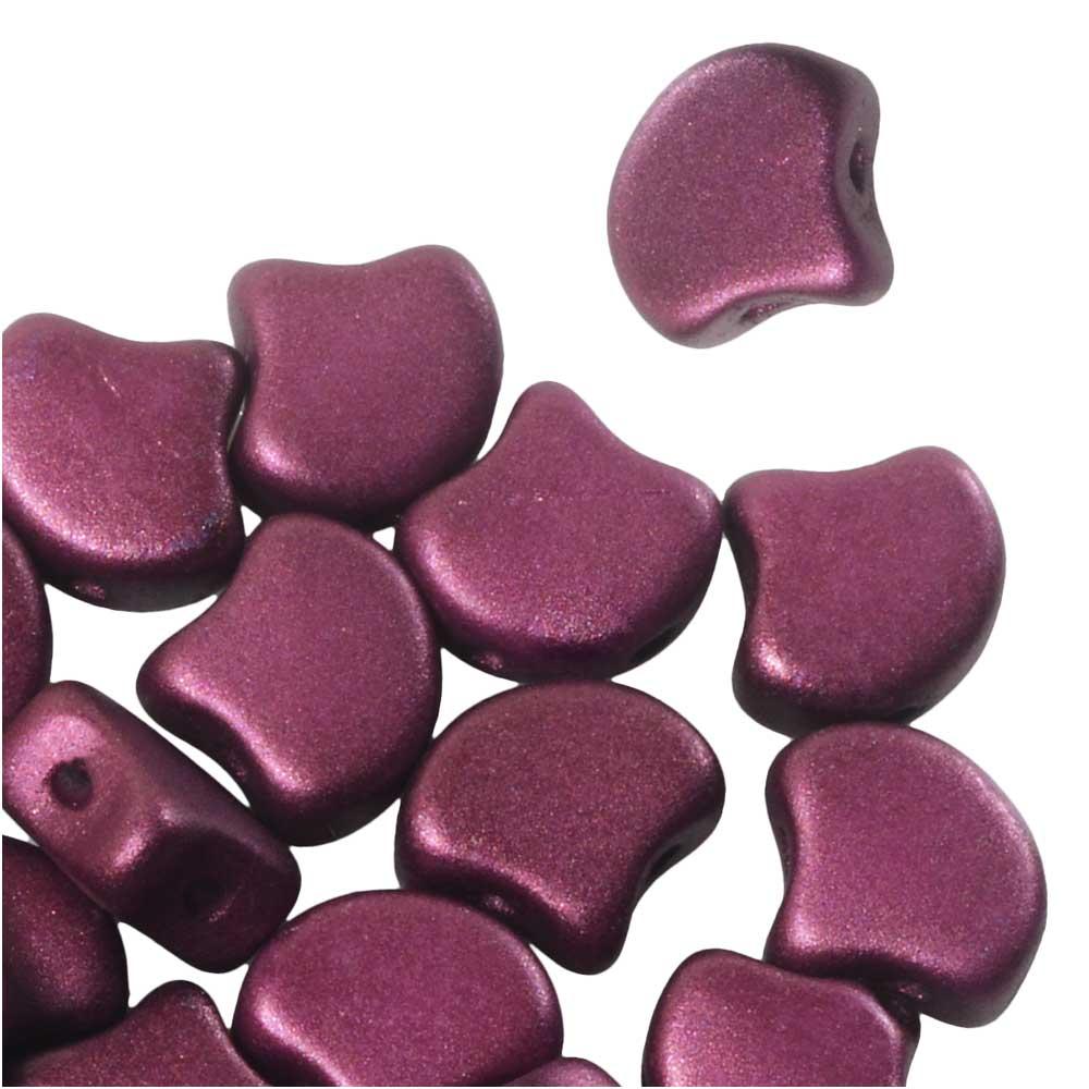 Czech Glass, 2-Hole Ginko Beads 7.5mm, 10 Grams, Shimmer Burgundy