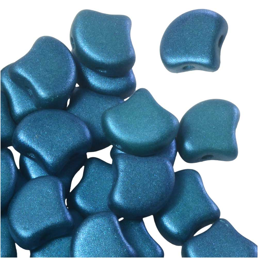 Czech Glass, 2-Hole Ginko Beads 7.5mm, 10 Grams, Shimmer Teal Blue