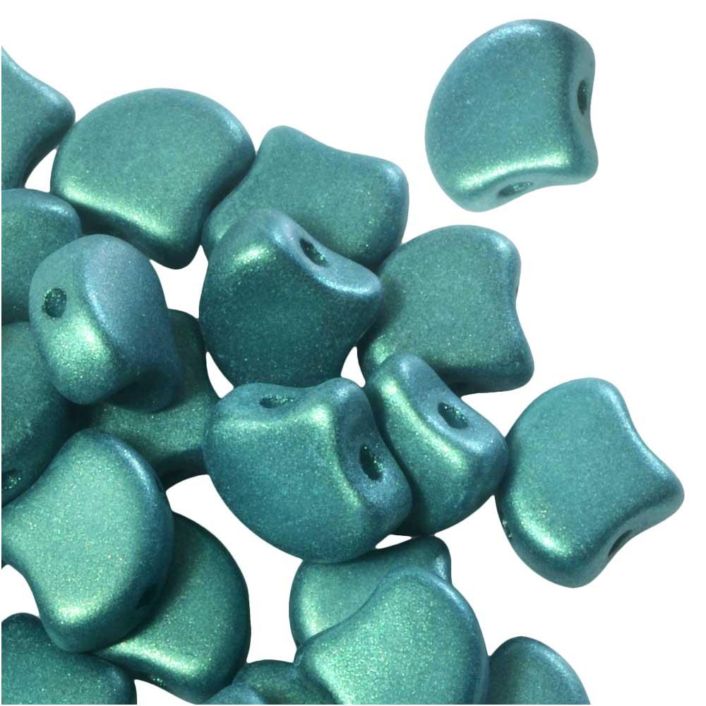 Czech Glass, 2-Hole Ginko Beads 7.5mm, 10 Grams, Shimmer Green