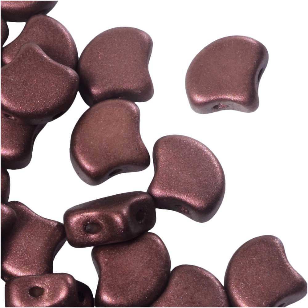 Czech Glass, 2-Hole Ginko Beads 7.5mm, 10 Grams, Shimmer Rust Brown