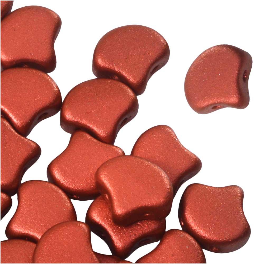 Czech Glass, 2-Hole Ginko Beads 7.5mm, 10 Grams, Lava Red