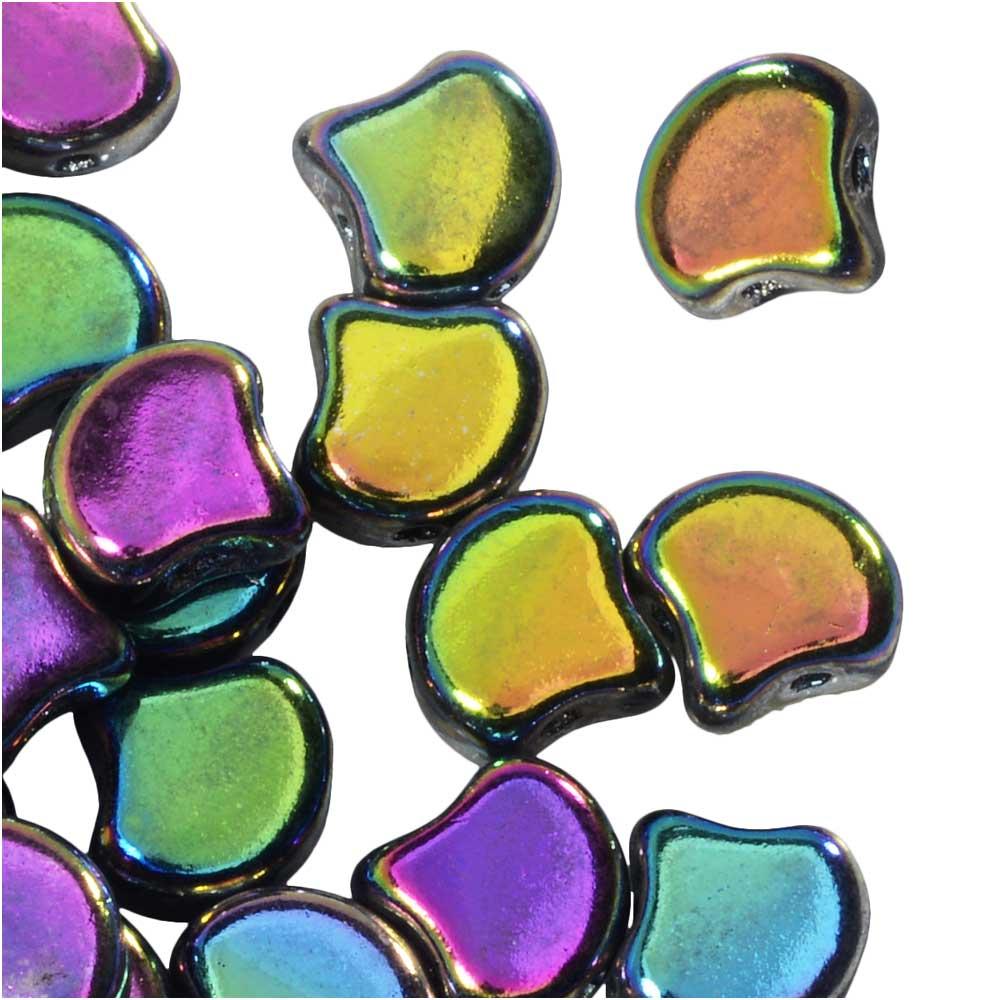 Czech Glass, 2-Hole Ginko Beads 7.5mm, 10 Grams, Jet Full Vitrail