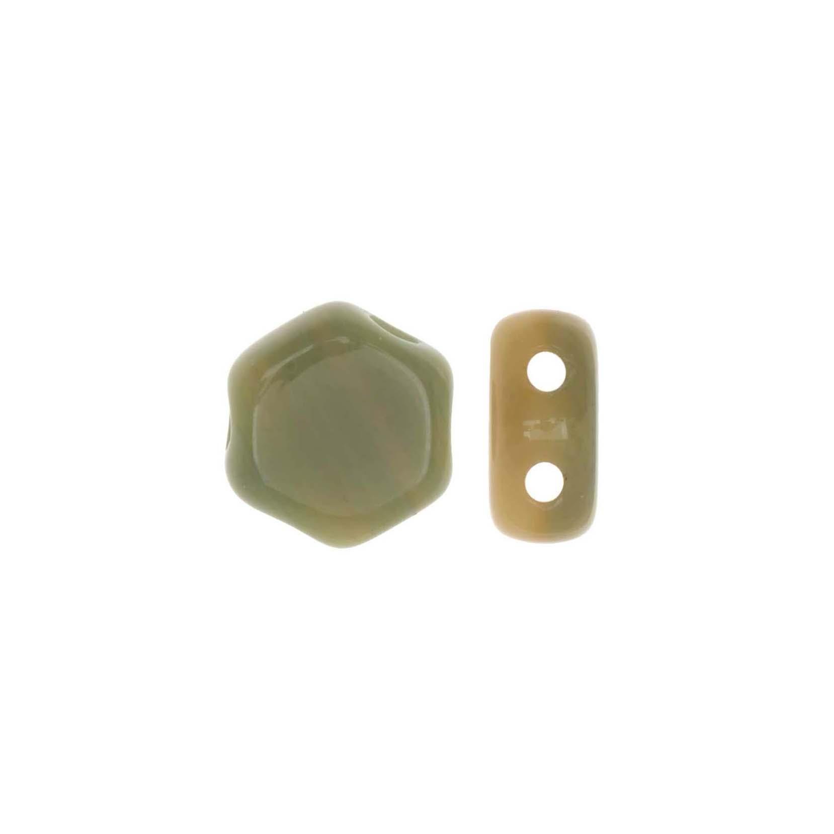 Final Sale - Czech Glass Honeycomb Beads, 2-Hole Hexagon 6mm, 30 Pieces, Hodge Podge Seafoam
