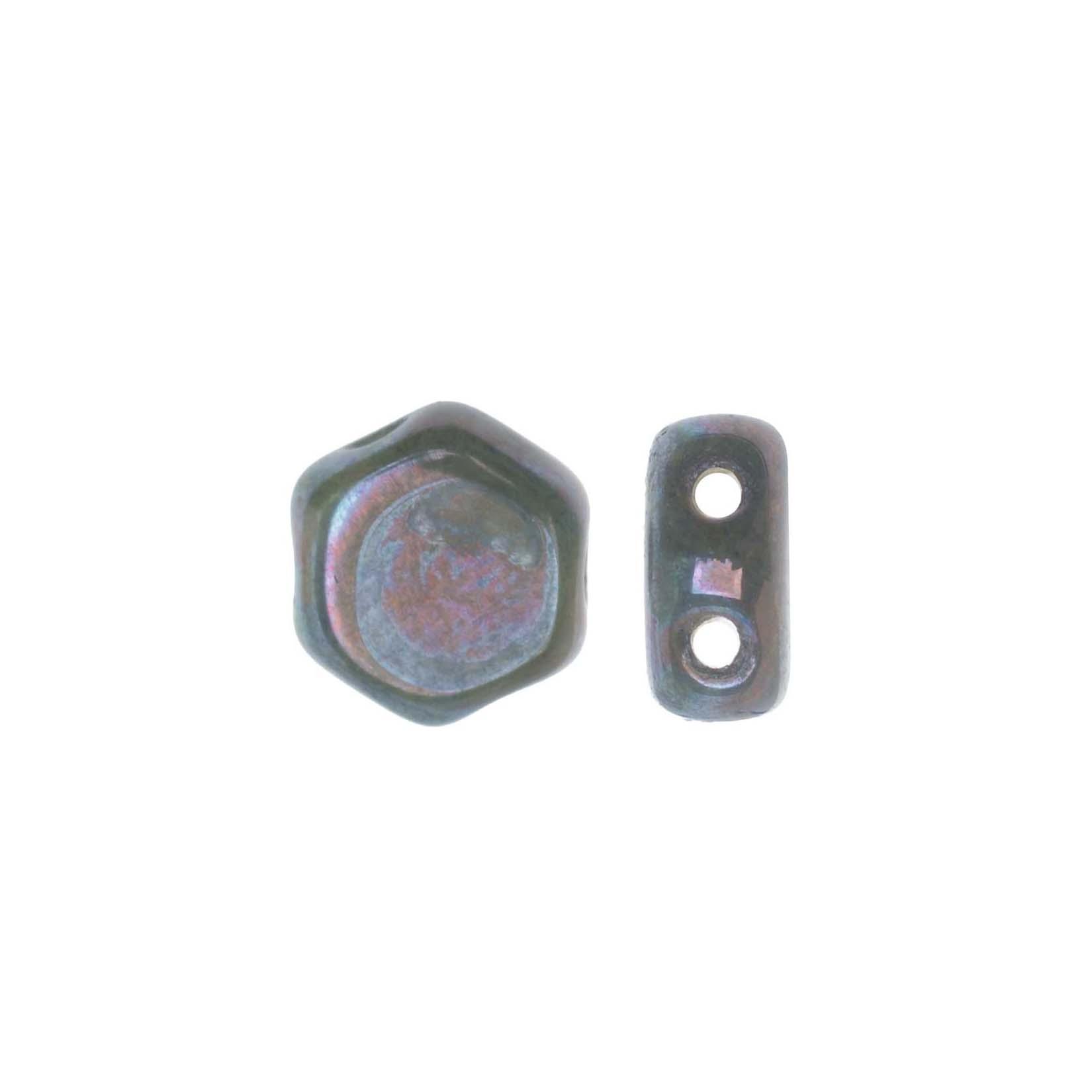 Final Sale - Czech Glass Honeycomb Beads, 2-Hole Hexagon 6mm, 30 Pieces, Hodge Podge Seafoam Nebula