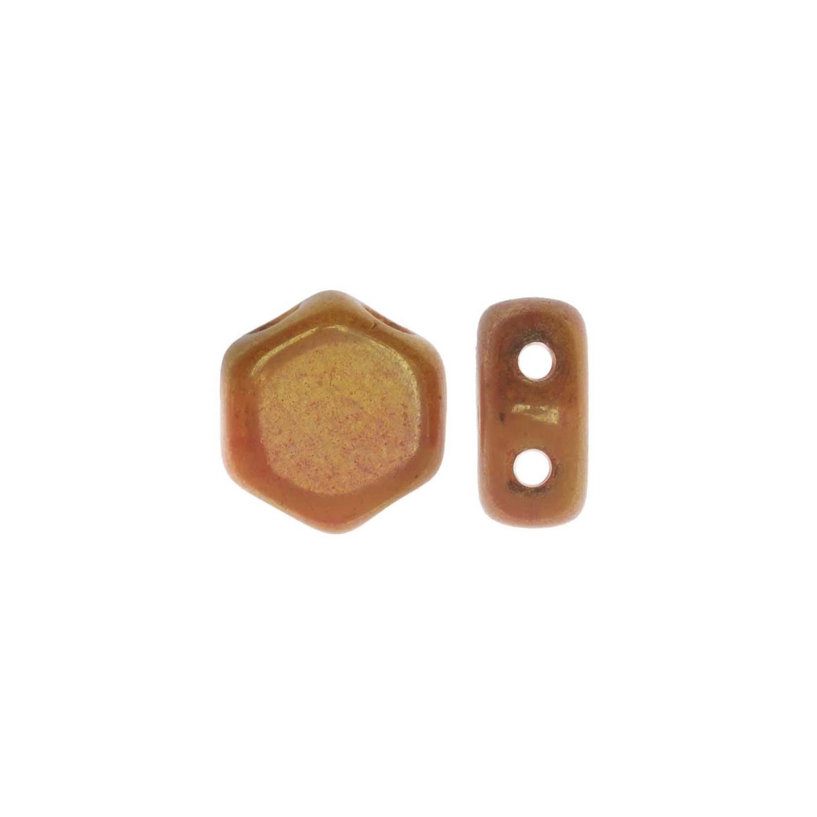 Czech Glass Honeycomb Beads, 2-Hole Hexagon 6mm, 30 Pieces, Hodge Podge Orange Luster