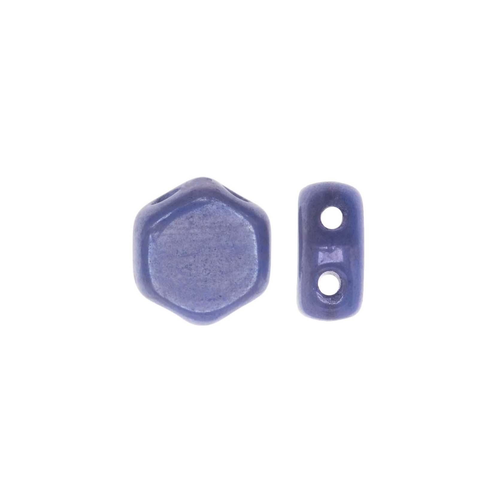 Czech Glass Honeycomb Beads, 2-Hole Hexagon 6mm, 30 Pieces, Hodge Podge Blue Lumi