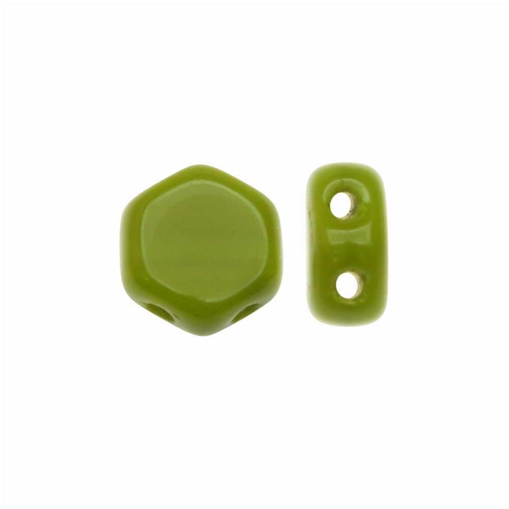 Czech Glass Honeycomb Beads, 2-Hole Hexagon 6mm, 30 Pieces, Wasabi Green