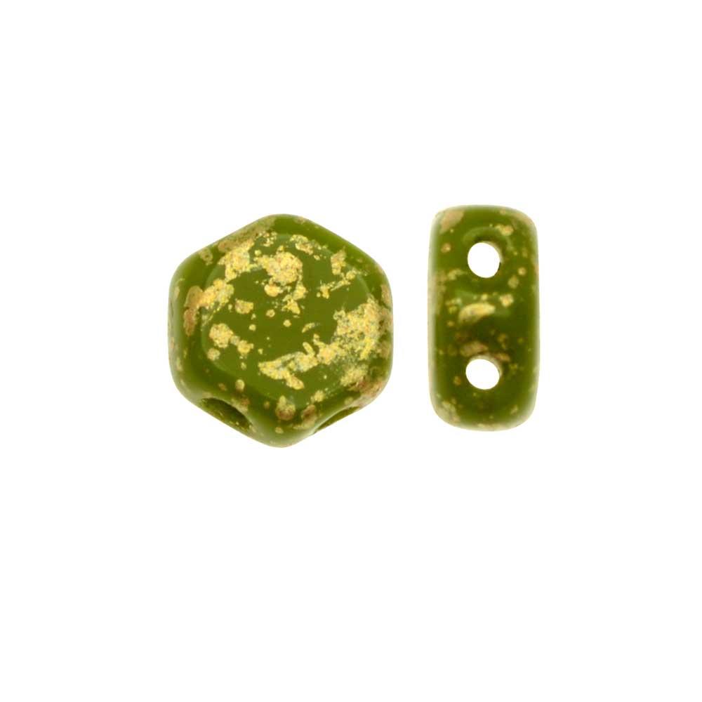 Czech Glass Honeycomb Beads, 2-Hole Hexagon 6mm, 30 Pieces, Metallic Gold Splash on Wasabi Green