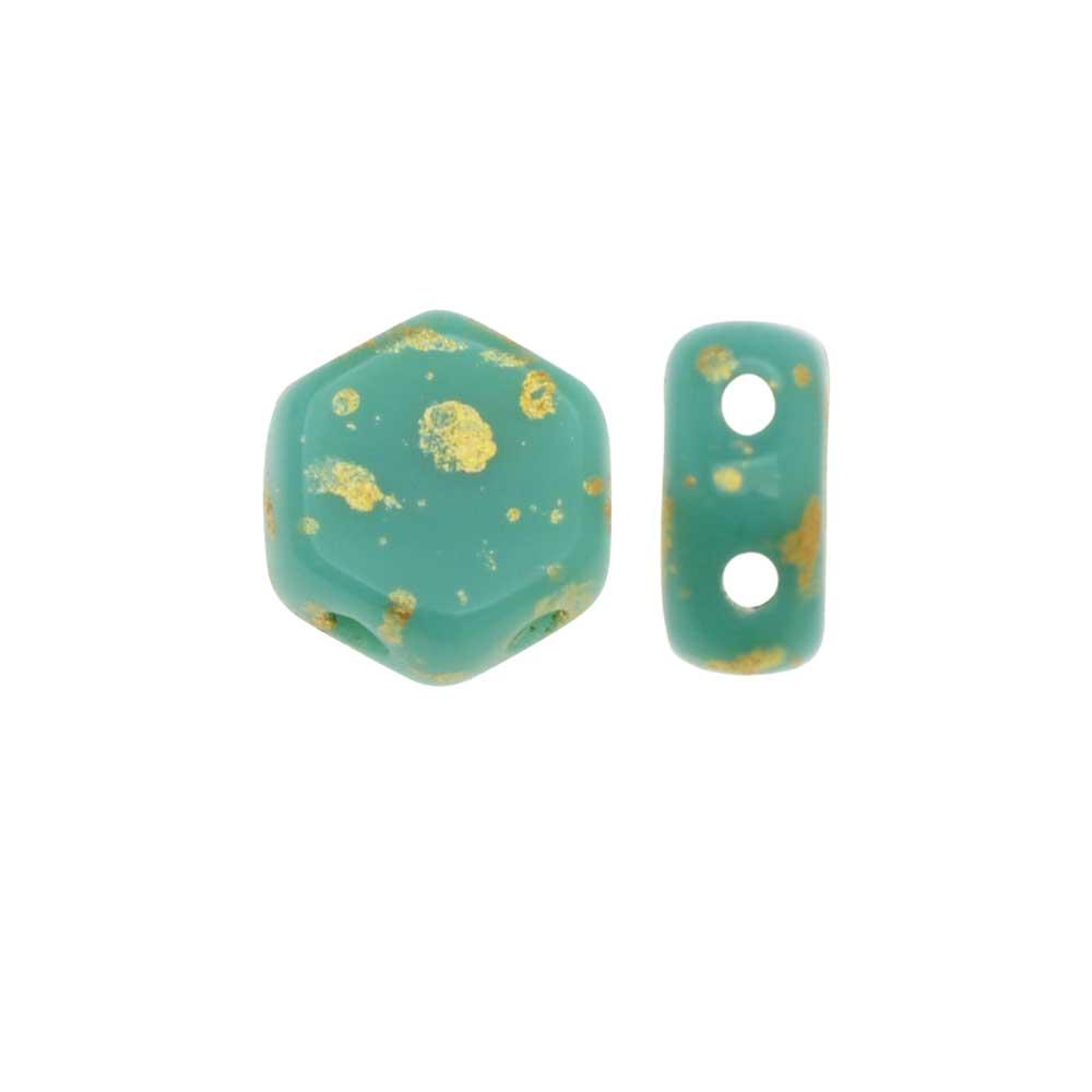 Czech Glass Honeycomb Beads, 2-Hole Hexagon 6mm, 30 Pieces, Metallic Gold Splash on Green Turquoise