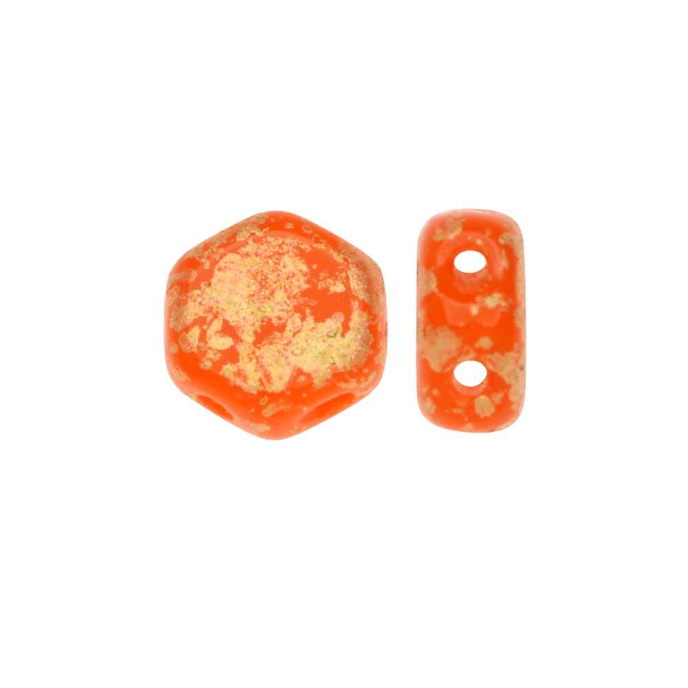 Czech Glass Honeycomb Beads, 2-Hole Hexagon 6mm, 30 Pieces, Metallic Gold Splash on Orange