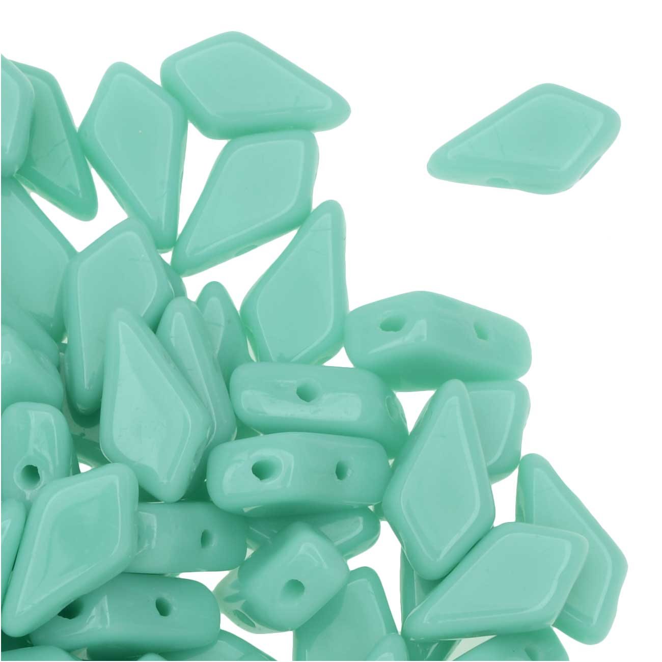 Czech Glass Kite Beads, 2-Hole Diamond Shape 9x5mm, 24 Grams, Turquoise Green