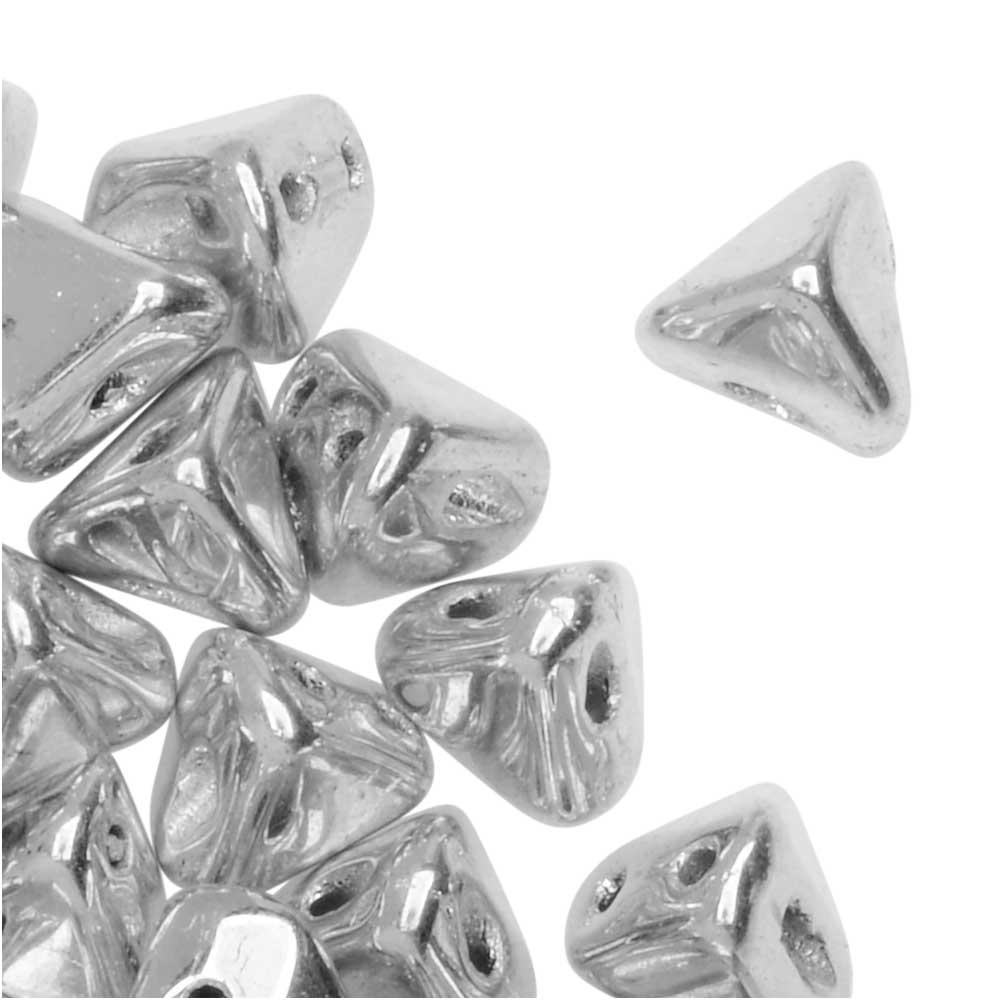 Final Sale - Czech Glass Super Kheops par Puca, 2-Hole Triangular Pyramid Beads 6mm, 9 Grams, Argentees Silver