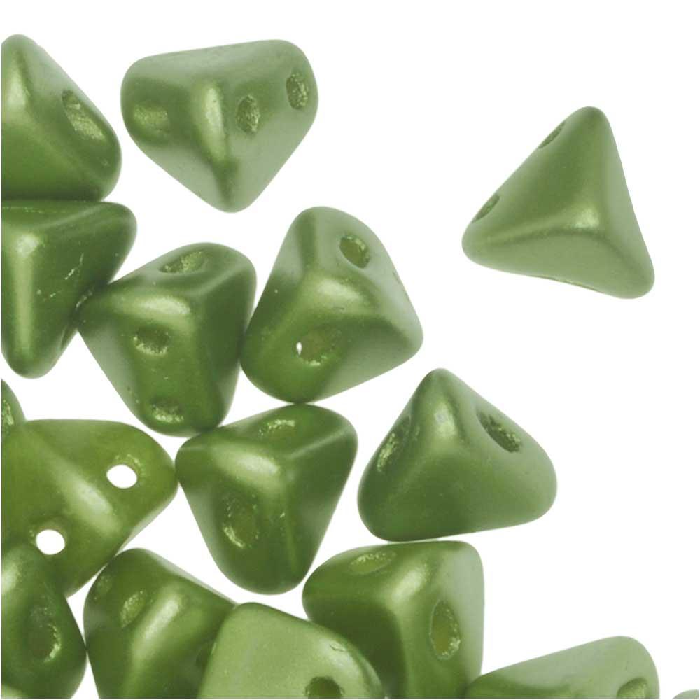 Final Sale - Czech Glass Super Kheops par Puca, 2-Hole Triangular Pyramid Beads 6mm, 9 Grams, Pastel Olivine