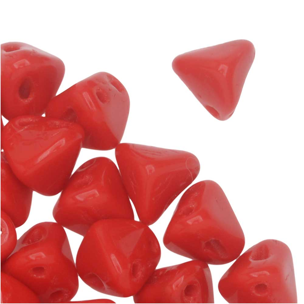 Final Sale - Czech Glass Super Kheops par Puca, 2-Hole Triangular Pyramid Beads 6mm, 9 Grams, Opaque Coral Red