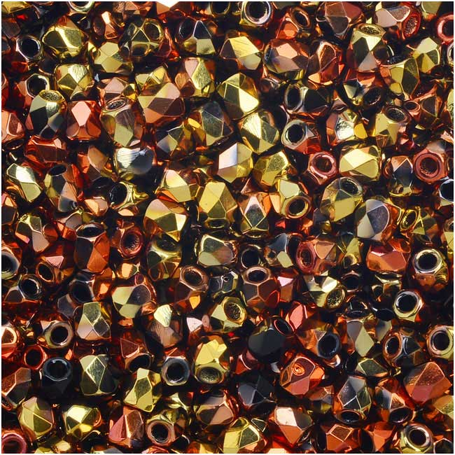 True2 Czech Fire Polished Glass, Faceted Round Beads 2mm, 50 Pieces, Jet California Gold Rush