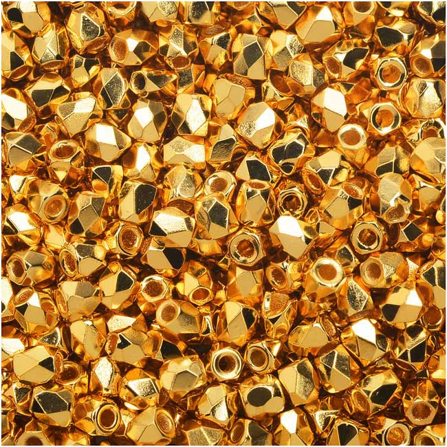 True2 Czech Fire Polished Glass, Faceted Round Beads 2mm, 50 Pieces, Gold Plated